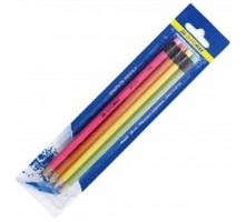 Карандаш графитный BUROMAX HB, with eraser, NEON, SET 4шт, assorted colors/blіster (BM.8521)
