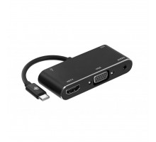 Концентратор 2E Type C to USB 3.0+AUX+HDMI+VGA+USB Type C, 0.15m, black (2E-W1408)