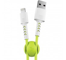 Дата кабель USB 2.0 AM to Lightning 1.0m Soft white/lime Pixus (4897058531183)