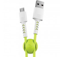Дата кабель USB 2.0 AM to Micro 5P 1.0m Soft white/lime Pixus (4897058531176)