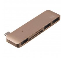 Переходник Type-C to 3*USB 3.0, SD/microSD reader (Gold) Kit (C5IN1GD)