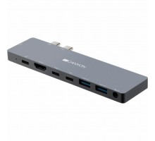 Порт-репликатор CANYON Docking Station with 8 port, 1*Type C PD100W+2*Type C, Input (CNS-TDS08DG)