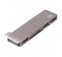 Переходник Type-C to 3*USB 3.0, SD/microSD reader (Space Grey) Kit (C5IN1GR)