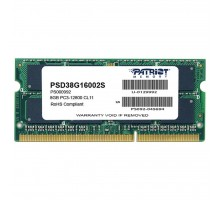 Модуль памяти для ноутбука SoDIMM 8GB 1600 MHz Patriot (PSD38G16002S)