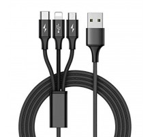 Дата кабель USB 2.0 AM to 3in1 1.0m Premium black REAL-EL (EL123500035)