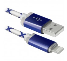 Дата кабель Defender ACH03-03LT USB - Lightning, BlueLED backlight, 1m (87551)