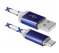 Дата кабель USB08-03LT USB - Micro USB, BlueLED backlight, 1m Defender (87555)