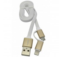 Дата кабель USB 2.0 AM to Lightning + Micro 5P 1.0m Flat White AUZER (AC-D1WH)